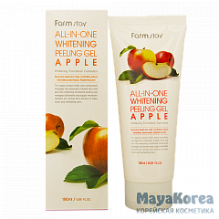 FarmStay All-In-One Whitening Peeling Gel Apple, 180ml Отшелушивающий гель с экстрактом яблока, выравнивающий тон кожи, 180мл, FarmStay