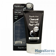 FarmStay Charcoal Black Head Peel-off Nose Pack, 60g Маска-пленка с углем для носа, 60г, FarmStay